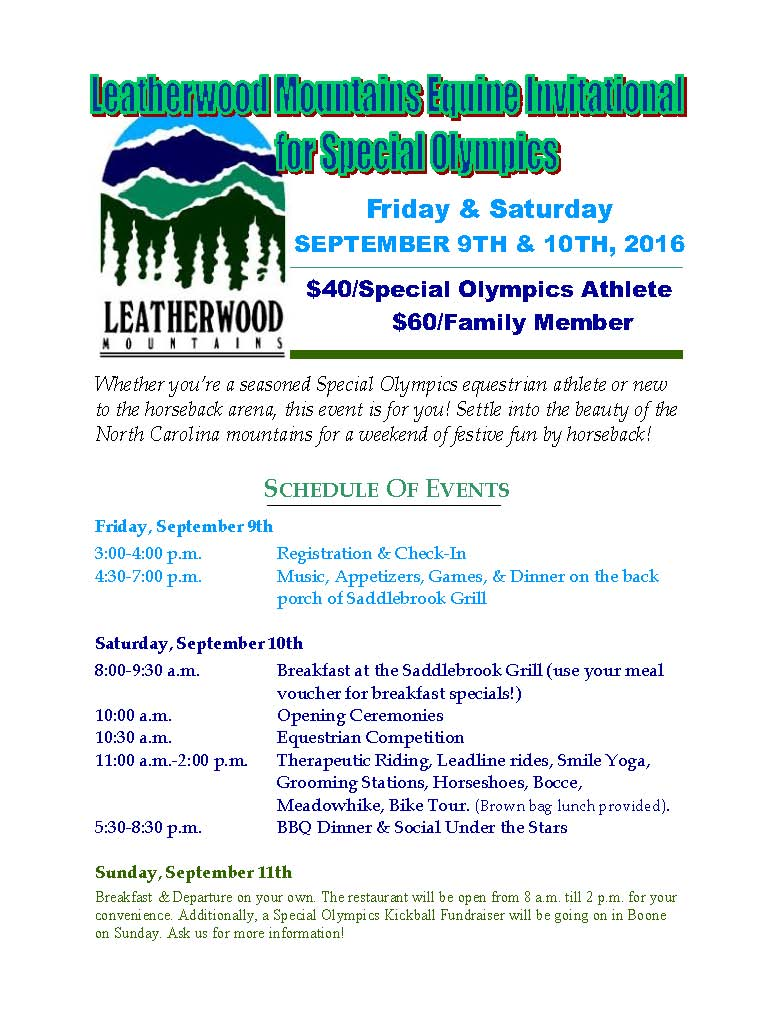 Leatherwood Mountains Special Olympics Equine Invitational