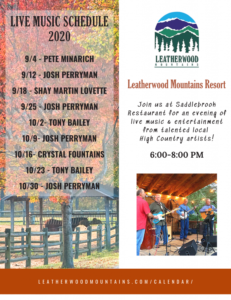 Our fall live music line up is here!! Join us at Saddlebrook Restaurant for an evening of live music & entertainment from talented local High Country artists!