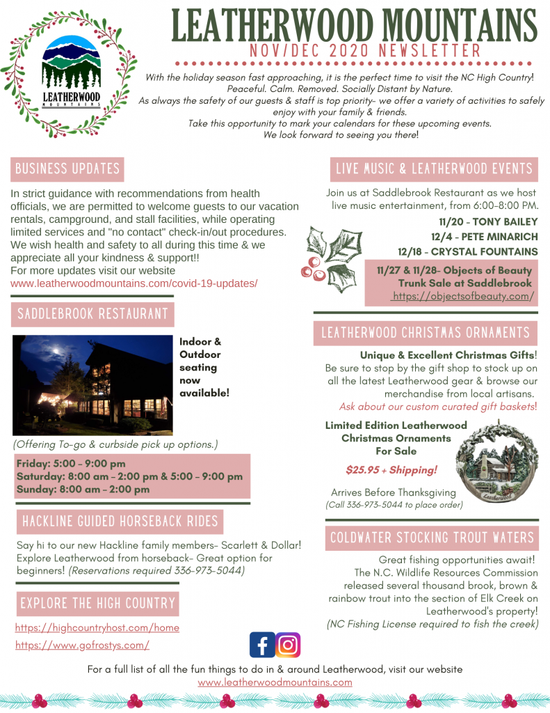 Leatherwood Mountains Nov/Dec 2020 Newsletter