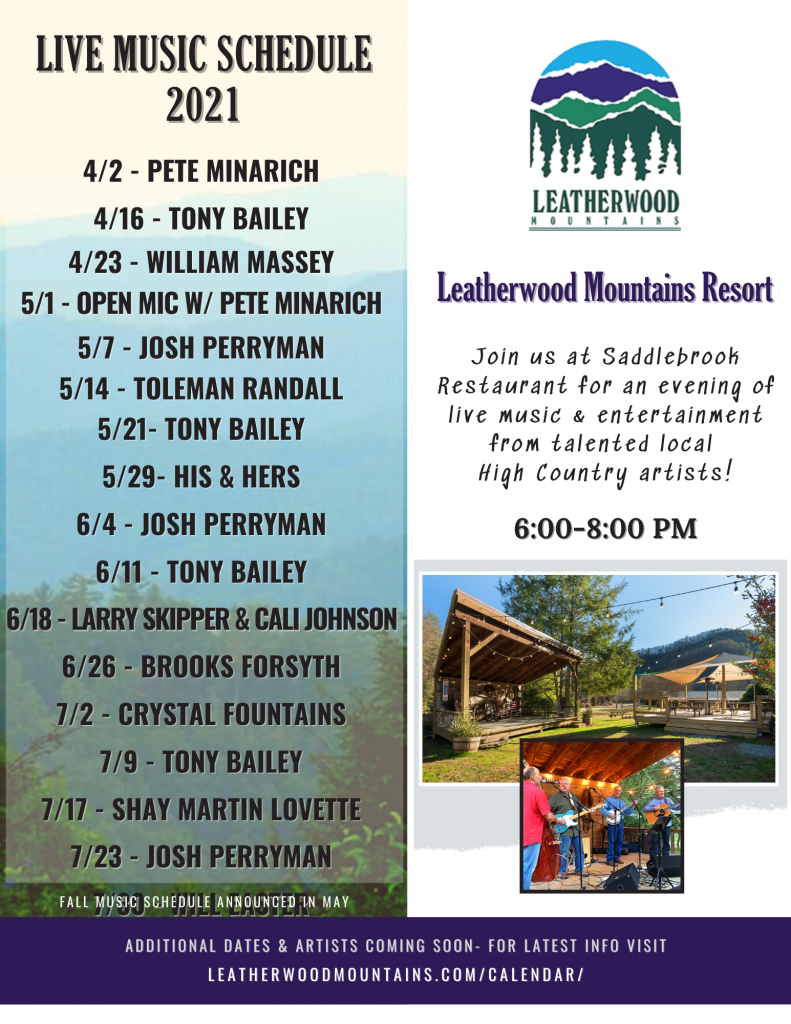 Live Music Schedule 2021- 4/2 - Pete Minarich 4/16 - Tony Bailey 4/23 - William Massey 5/1- Open Mic With Pete Minarich, 5/7 - Josh Perryman 5/14 - Toleman Randall 5/21- Tony Bailey 5/29- His & Hers 6/4 - Josh Perryman 6/11 - Tony Bailey 6/18 - Larry Skipper & Cali Johnson 6/26 - Brooks Forsyth 7/2 - Crystal Fountains 7/9 - Tony Bailey 7/17 - Shay Martin Lovette 7/23 - Josh Perryman 7/30 - Will Easter